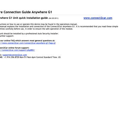 Connect2Car_Anywhere_G1_Installation_Manual